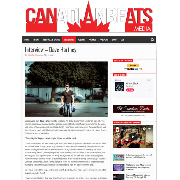 Dave talks to Canadian Beats. Read the interview here!