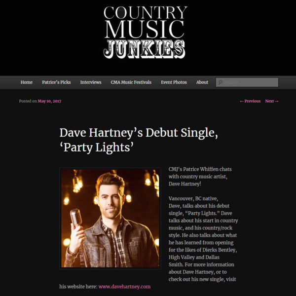 Dave chats with Country Music Junkies. Listen to the interview here!